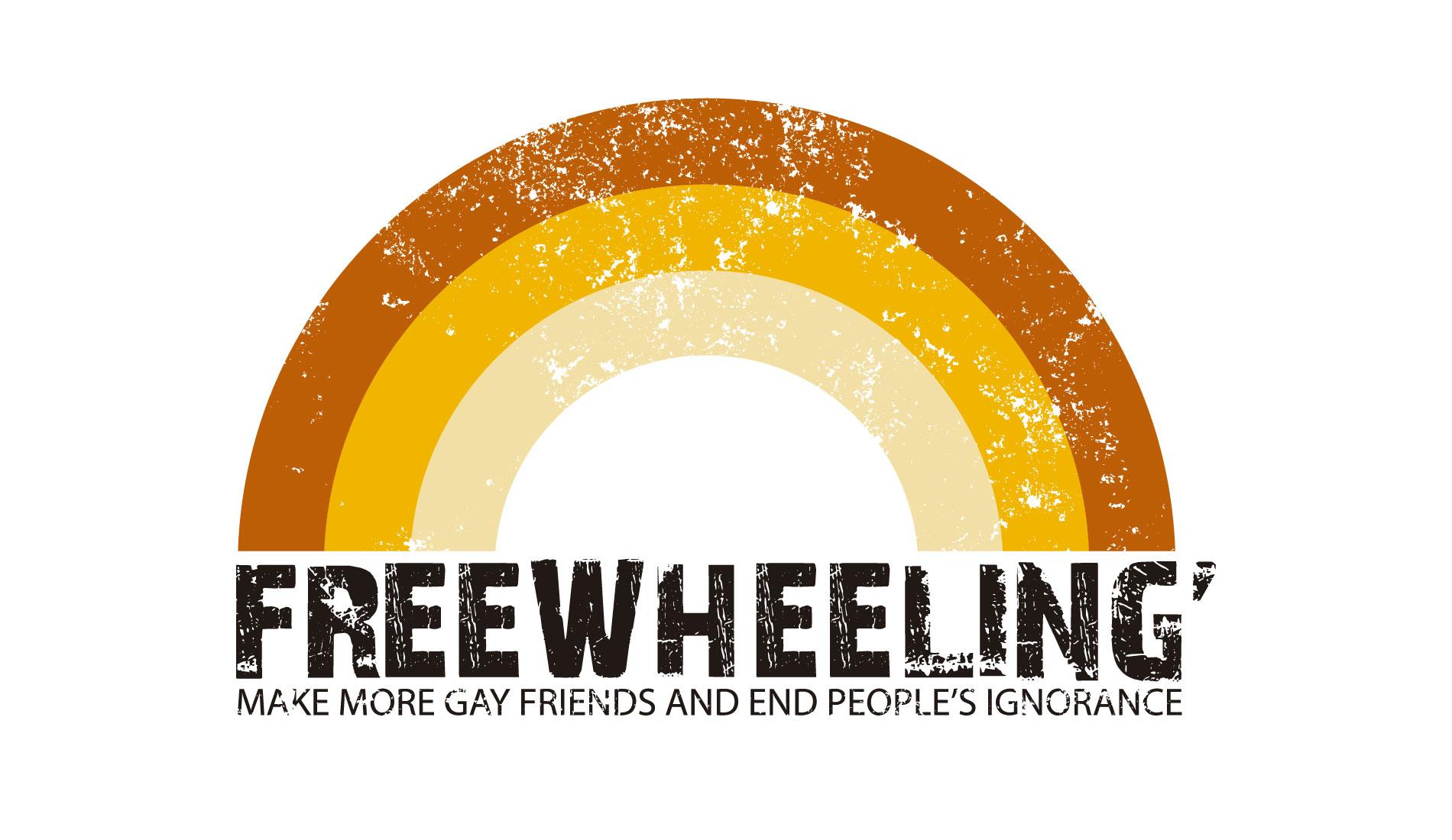 Freewheeling, camisetas com frase da Rockfella coleção Society. Faça mais amigos gays.